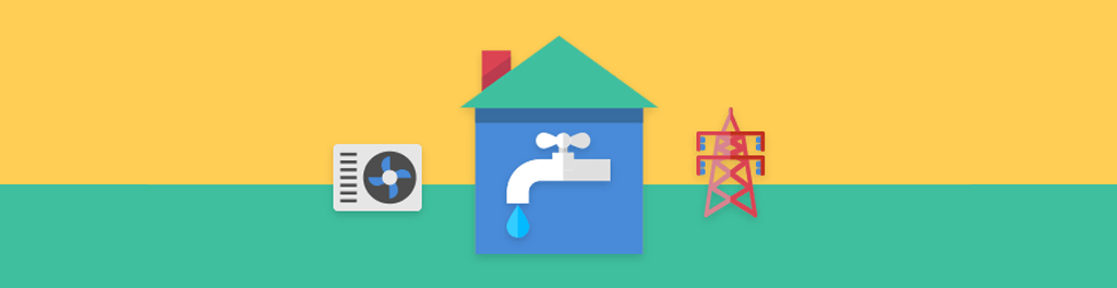 A blue house with an image of a dropping faucet on it