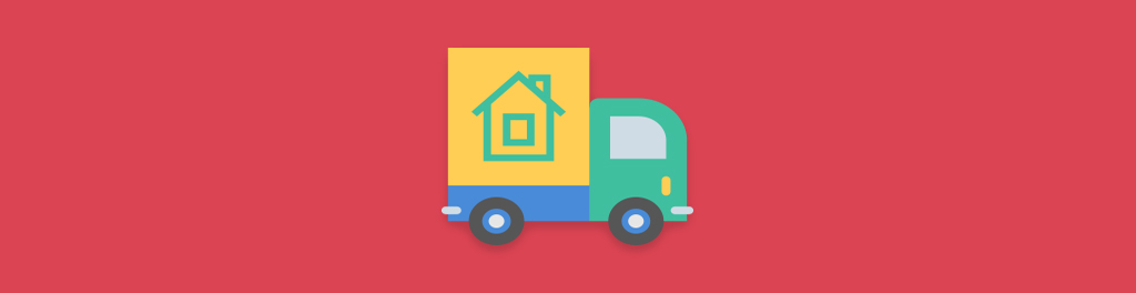 cartoon moving truck with a house on it with a red background