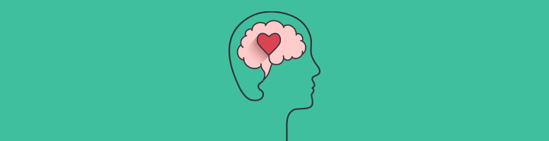 An outline of a person's head with a pink brain inside, and a heart stamped on top.