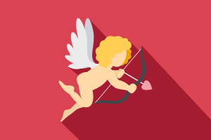 Angel shooting an arrow with a heart-tipped point from an arrow