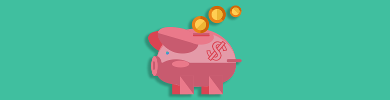 gold coins dropping into a piggy bank