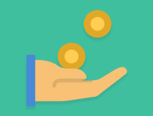 coins landing in a hand