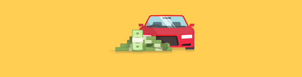 a red car next to a large pile of money