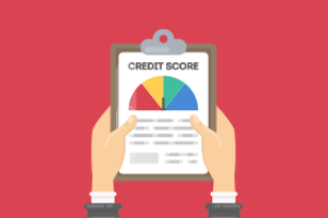 credit score on a clipboard