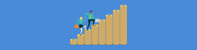 a couple climbing money stairs