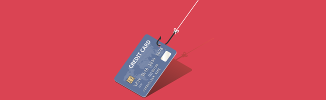 A credit card being dragged by a fishhook