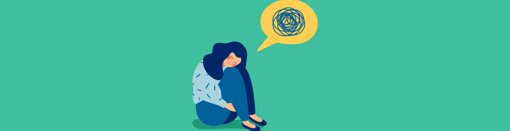 Girl curled up into a ball; there is a thought bubble full of tangled yarn