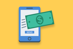 a dollar sign flying out of a cell phone, as if transferring to another place
