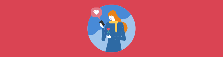 Women holding a cellphone with a heart-shaped emoji in one hand and a rose in the other