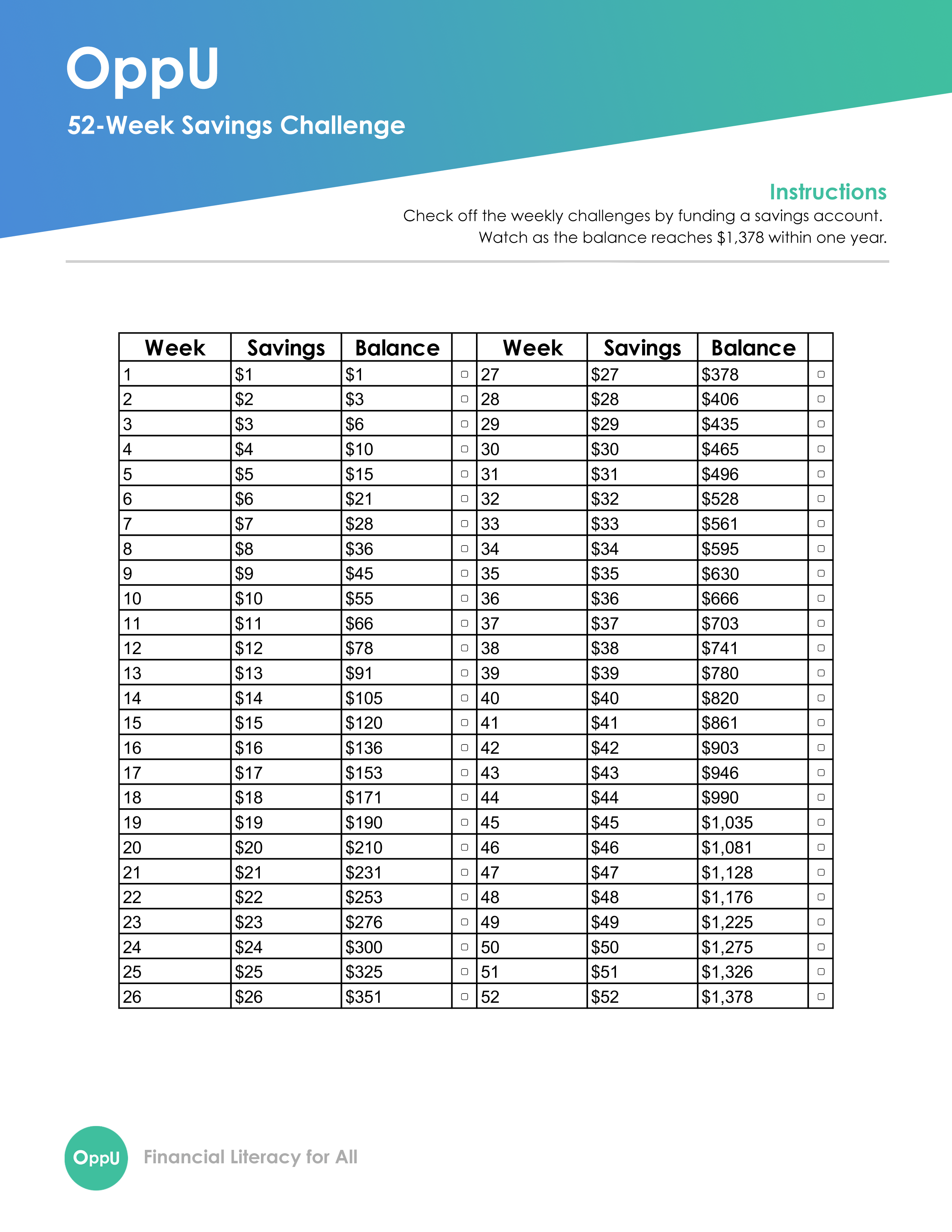 Savings Challenge Worksheet