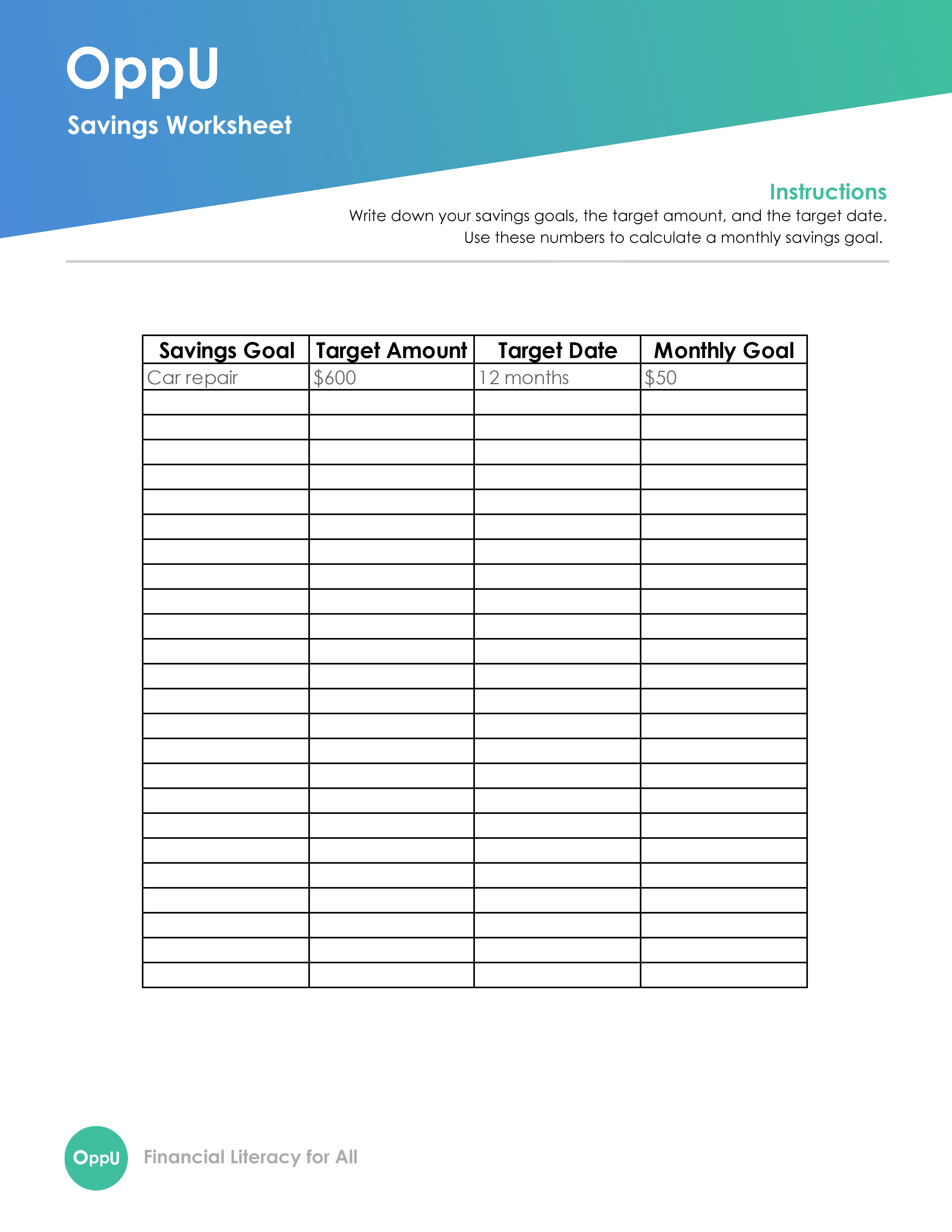 OppU Savings Goals Worksheet