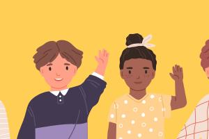 a row of children raising their hands