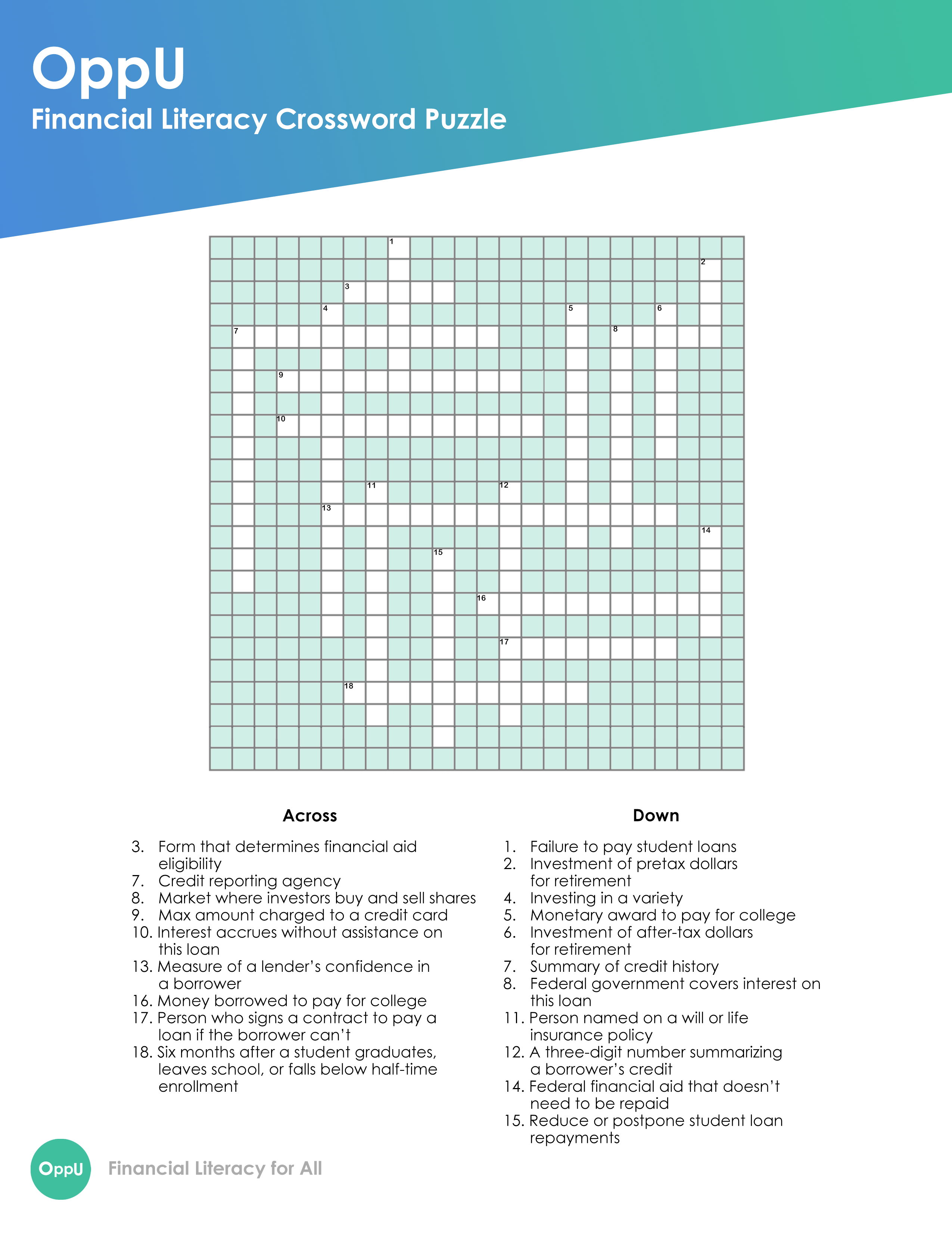 OppU Advanced Crossword Puzzle