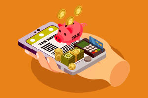 """A piggy bank that says """"tax,"""" a pile of money, and a credit card in a credit card machine all balancing on top of a mobile device"""