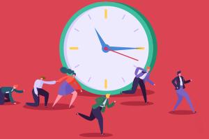 People running and scrambling around a large ticking clock