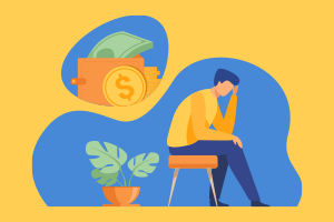 Guy sitting in a chair and a thought bubble full of money