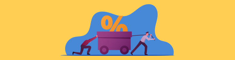 Two people hauling a cart with a large percentage point as the load