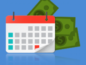 A calendar with the last day of the month highlighted in red; some cash bills are behind the calendar.