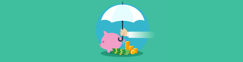A piggy bank and a pile of bills and coins under an umbrella