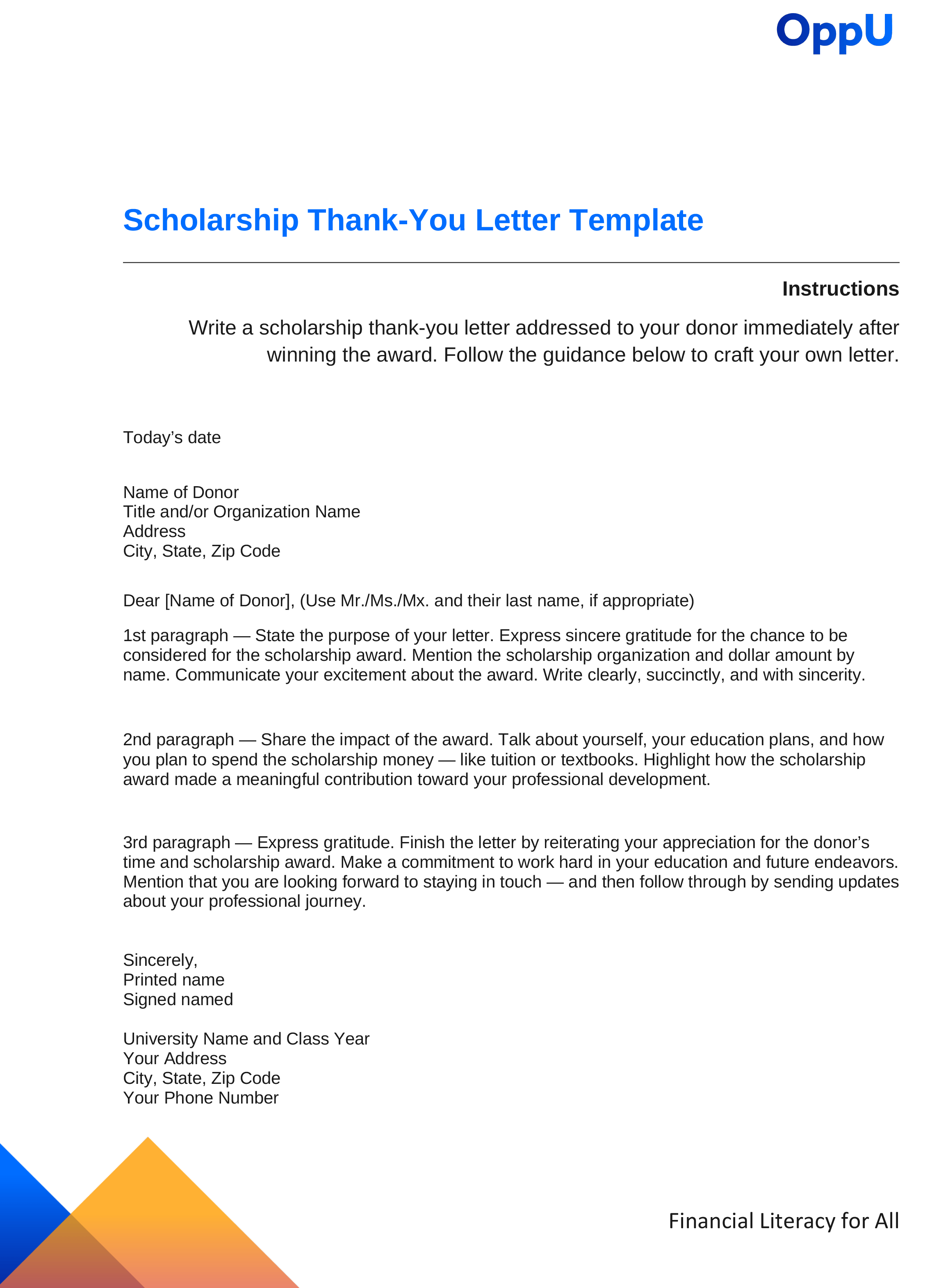 Scholarship Thank-You Letter Sample