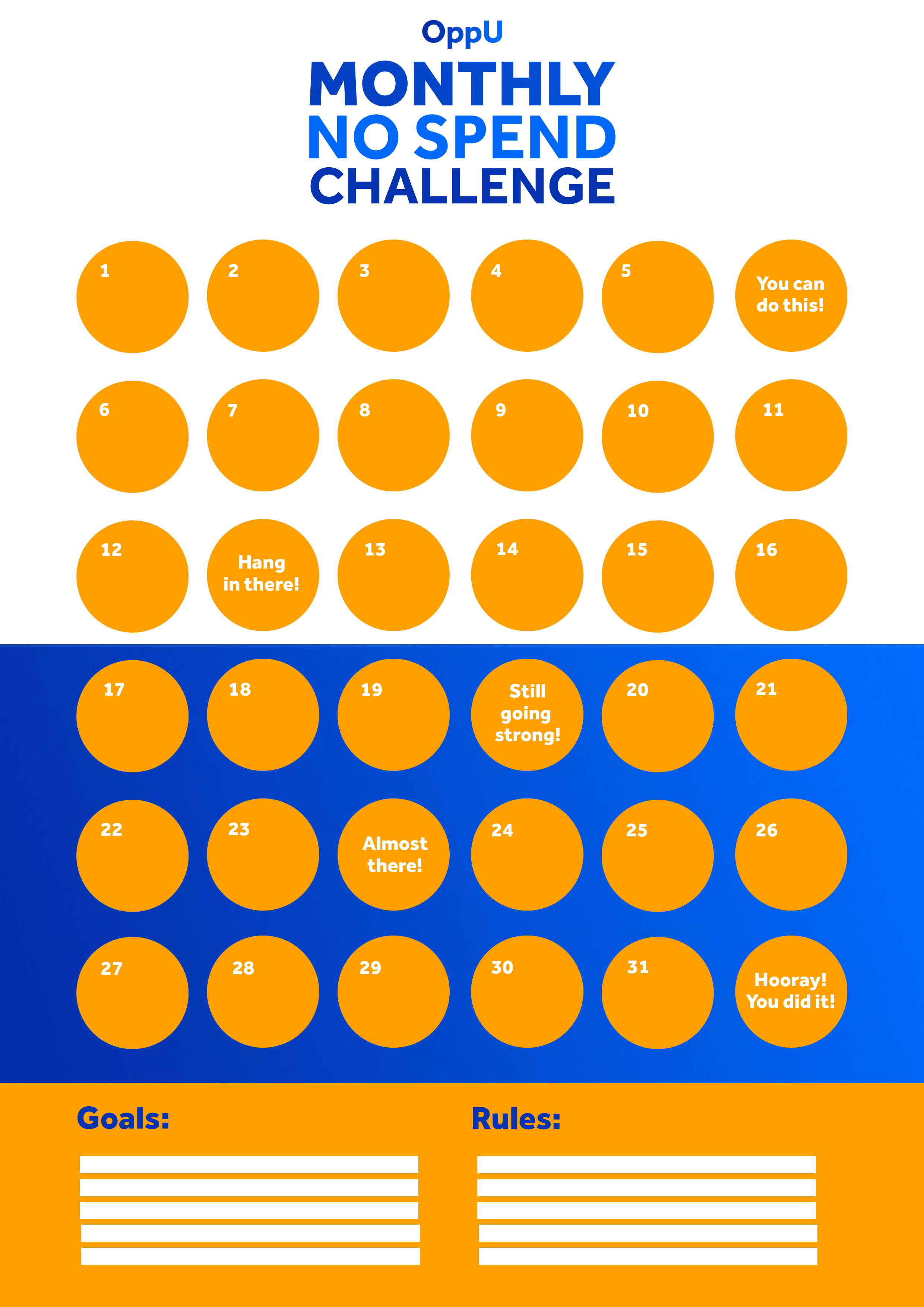 No-Spend Challenge Calendar