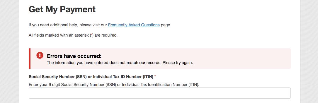 information errors message