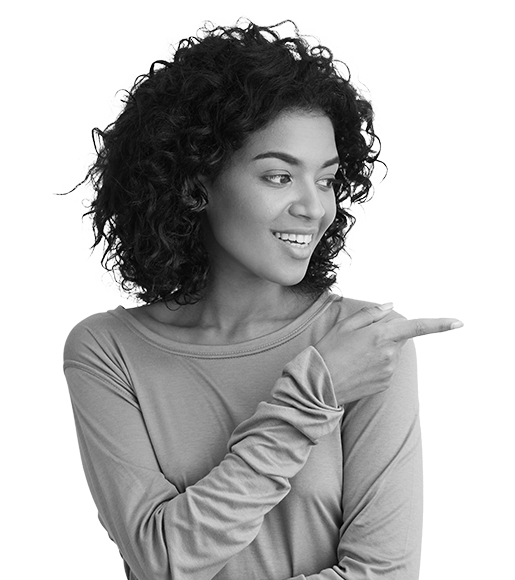 woman pointing her finger and smiling
